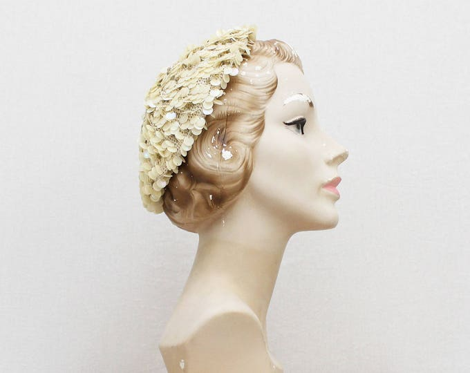 Vintage 1940s Cream Sequin Beret - Handmade in Italy