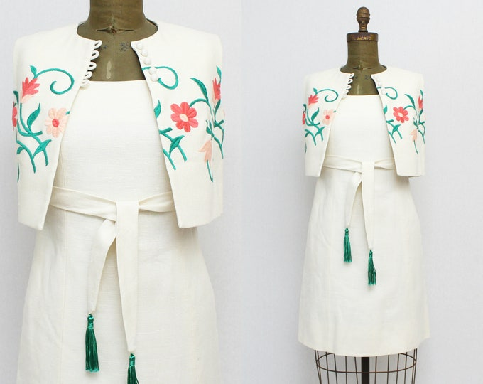 60s Floral White Linen Dress - Vintage 1960s Embroidered Dress and Vest - Union Label