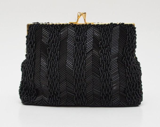 Vintage Black Beaded Evening Bag - 1960s