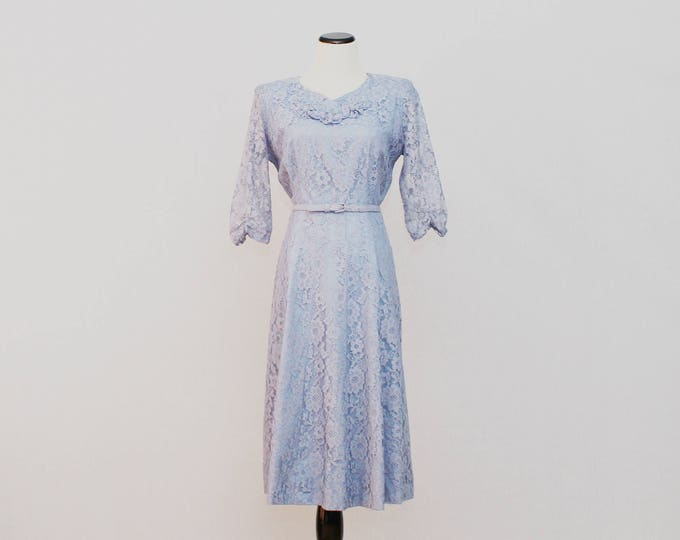 50s Periwinkle Lace Cocktail Dress - Vintage 1950s Blue Lace Half Sleeve Belted Dress