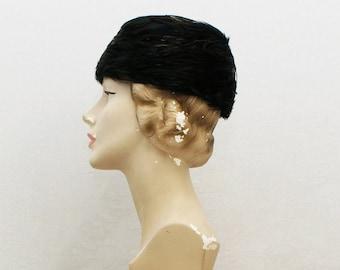 15de6cf5845 50s Black and Gold Feather Hat - Vintage 1950s Brimless Helmet Hat