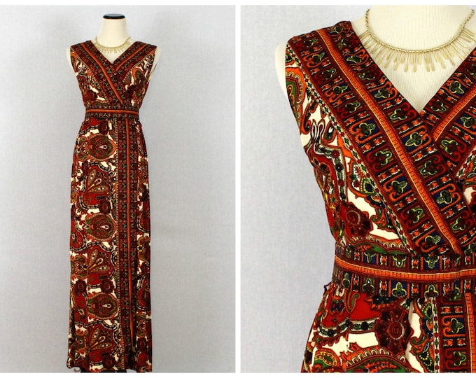 Bohemian Maxi Dress - 60s Orange Paisley Print Belted Dress - Vintage 1960s Boho Wrap Dress