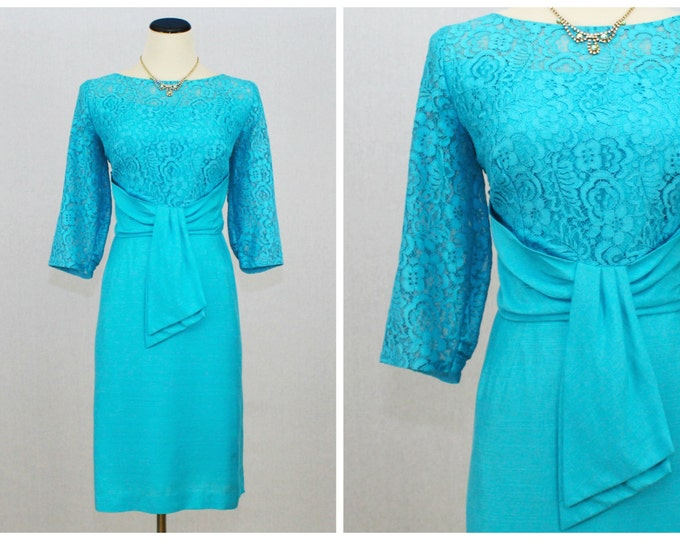 Turquoise Lace Cocktail Dress - 50s Linen and Lace Party Dress - Vintage 1950s Union Made Blue Wiggle Dress