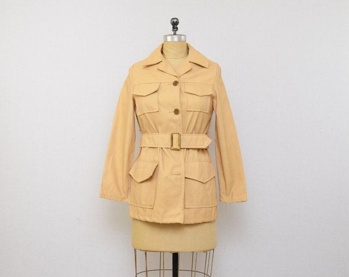 Vintage 1970s Short Tan Safari Jacket - Size Small