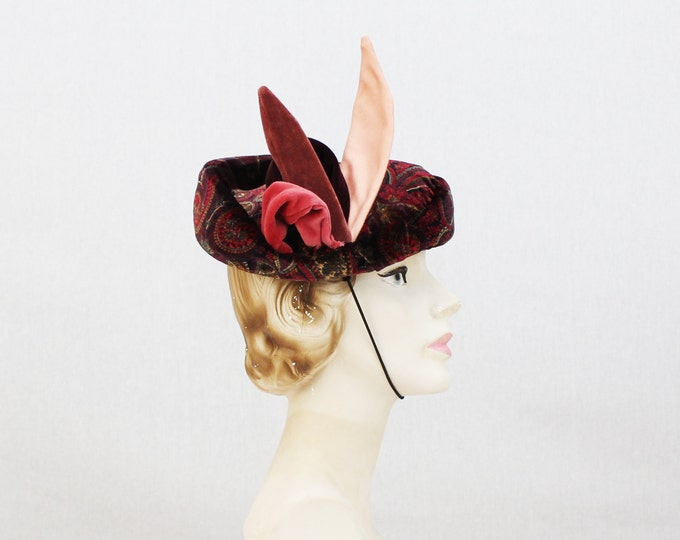 Paisley Tit Hat - Maroon Gold and Pink Cocktail Hat - Vintage 1960s Party Hat