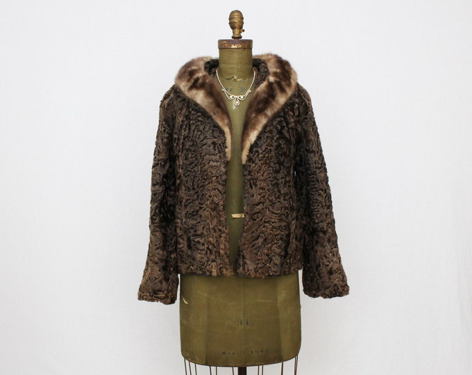 Brown Persian Lambswool Coat - Vintage 1960s Brown Mink Collar Fur Coat