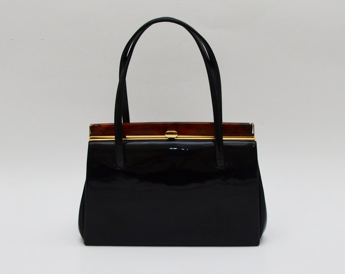 Vintage 1950s Black Patent Leather Handbag