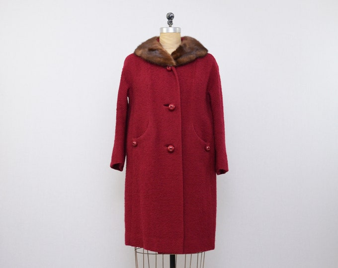 Vintage Cherry Red Wool Coat - Size Large - 1960s