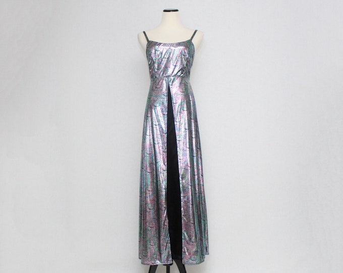 Vintage 1990s Liquid Metallic Silver Dress - Size Medium