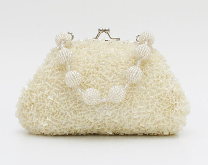 Vintage 1970s White Confetti Beaded Handbag