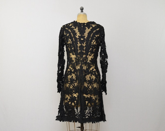 Antique Battenburg Lace Coat- 1910s Edwardian Black Lace Mourning Jacket
