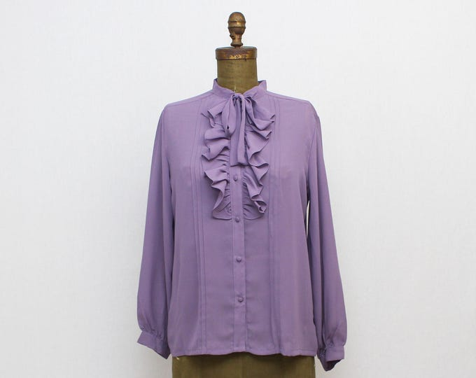 Purple Ruffle Blouse - Vintage 1970s Women's Kitty Bow Secretary Button Down Top
