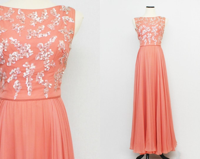 50s Coral Chiffon Sequin Gown - Vintage 1950s Plunging Back Formal Dress