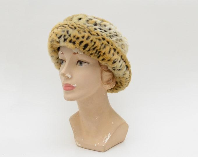 Vintage Leopard Print Faux Fur Hat - 1980s