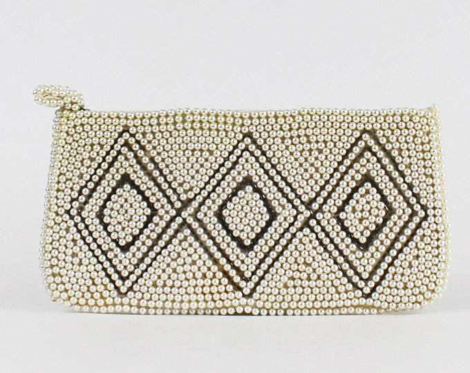 50s Beaded Clutch - Diamond Print Beaded Purse - Vintage 1950s Ivory and Silver Beaded Handbag - Beaded Evening Bag