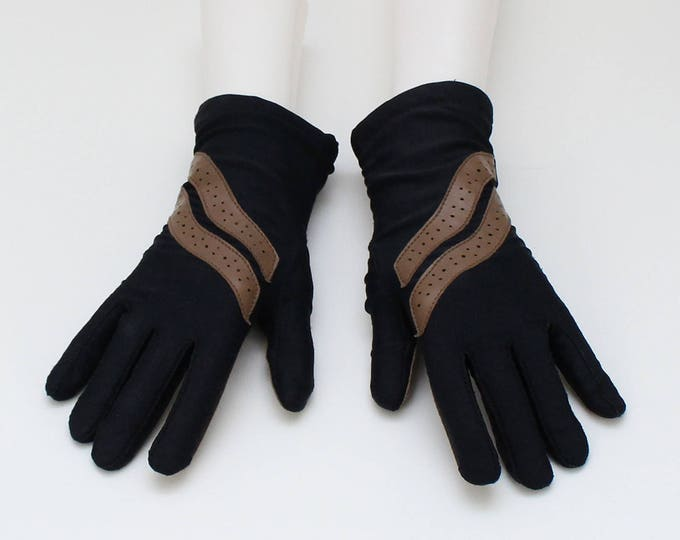Vintage 1980s Black and Tan Driving Gloves - One Size
