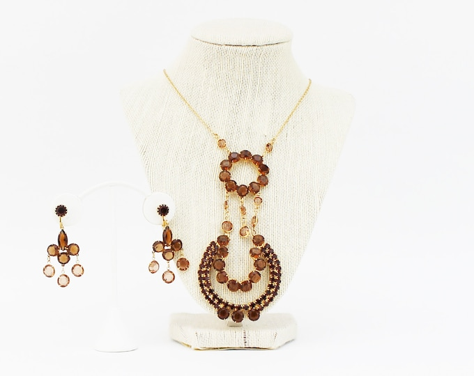 70s Statement Necklace and Earrings - Vintage 1970s Gold Bezel Set Topaz Necklace and Chandelier Earrings