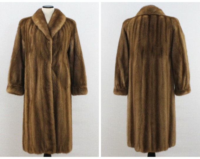 Vintage 1960s Long Blonde Mink Coat - Size Medium
