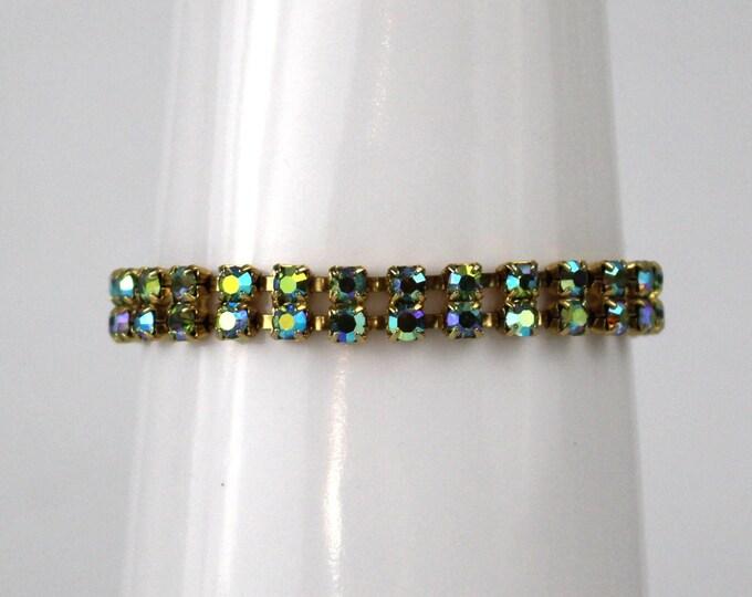 Blue Green Aurora Borealis Rhinestone Bracelet - Vintage 1950s Double Row Prong Set AB Rhinestone Bracelet