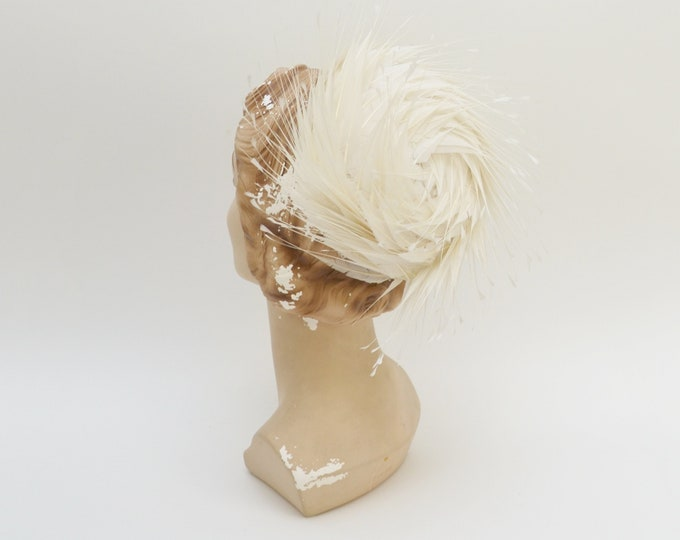 Vintage 1950s White Feather Cocktail Hat