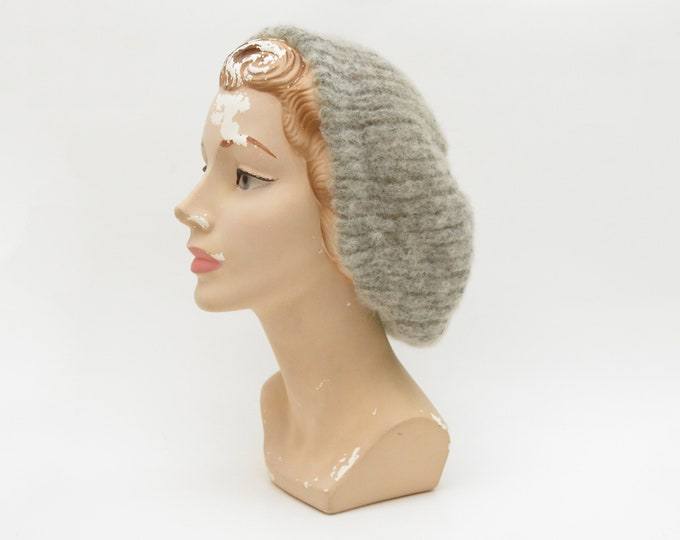 Vintage Grey Knit Hat - 1970s