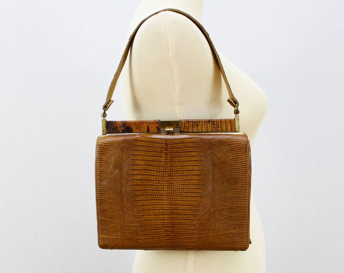 Reptile Skin Handbag -50s  Brown Snakeskin Purse - Vintage 1950s Caramel Fall Bag