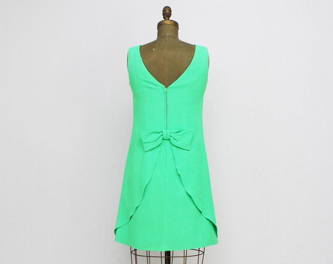 Vintage 1960s Green Cocktail Dress - Small