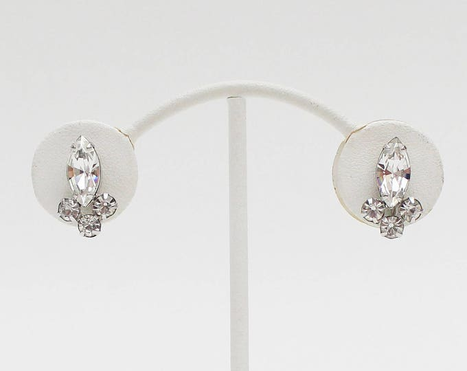 Vintage 50s Sherman Rhinestone Bridal Earrings