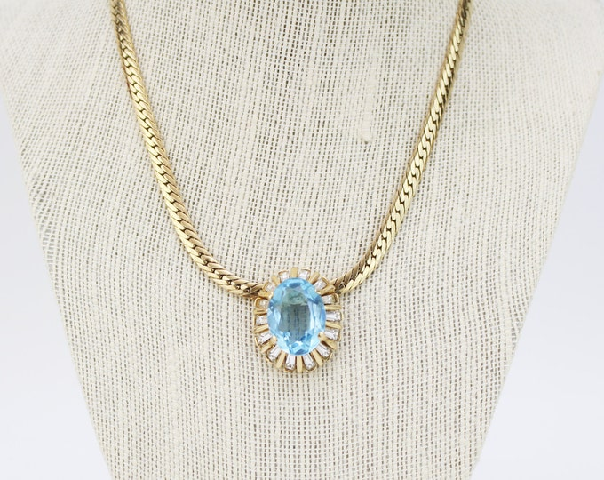 Aquamarine Gold Necklace - Vintage 1980s Bridal Necklace Signed Dorlan