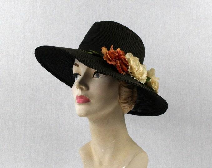 Dark Brown Wide Brim Hat - Boho Flower Brim Festival Hat - Vintage 1970s Shabby Sun Hat