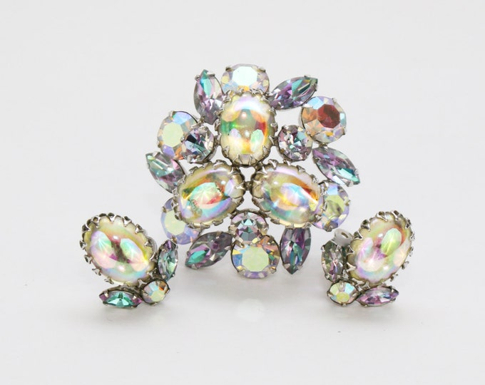 Sherman Rhinestone Cabochon Brooch and Earrings Set - Vintage 1960s Aurora Borealis Demi Parure