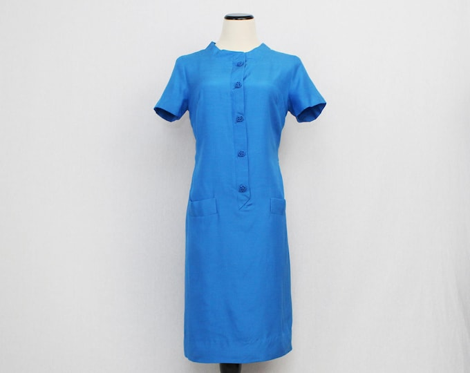 Sky Blue Silk Chinese Dress - Vintage 1960s Blue Button Down Day Dress