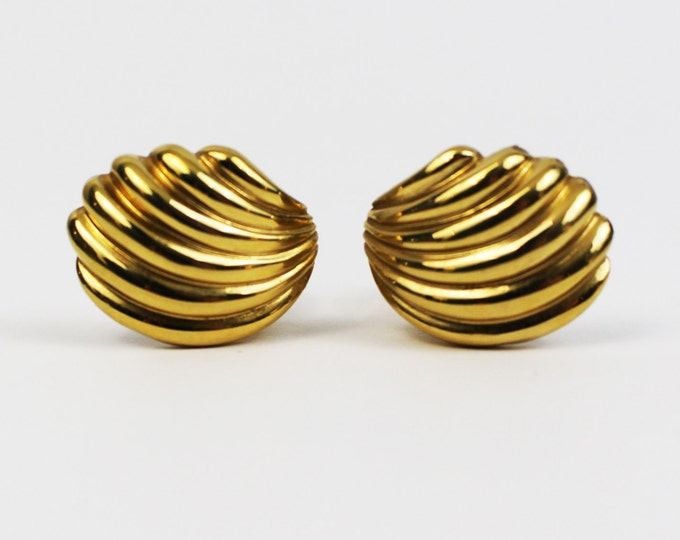 Nina Ricci Gold Earrings - Vintage 1980s Designer Clip Ons
