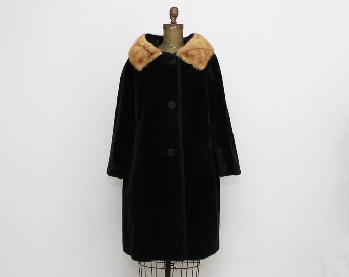 Vintage 1950s Black Fur Mink Trimmed Coat - Size Medium - Union Label