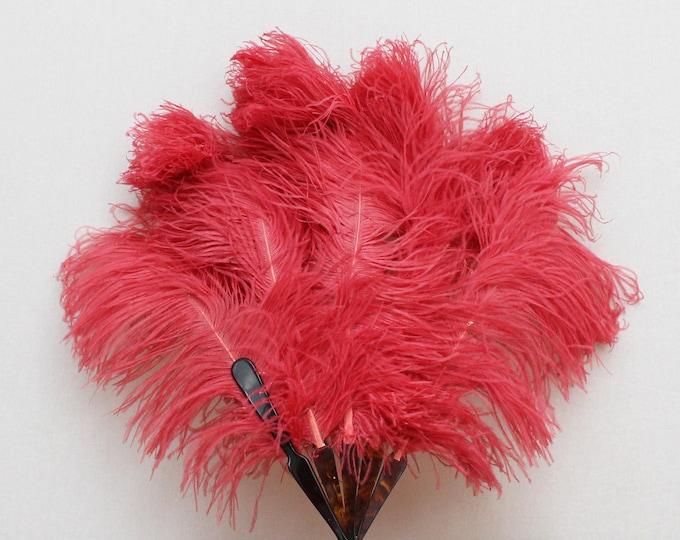 Antique 1920s Pink Ostrich Feather Burlesque Fan