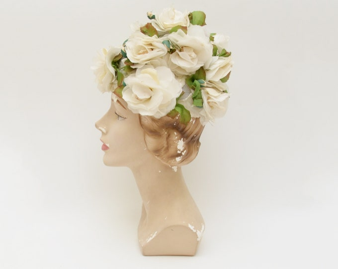 Vintage 1950s White Flower Bucket Hat