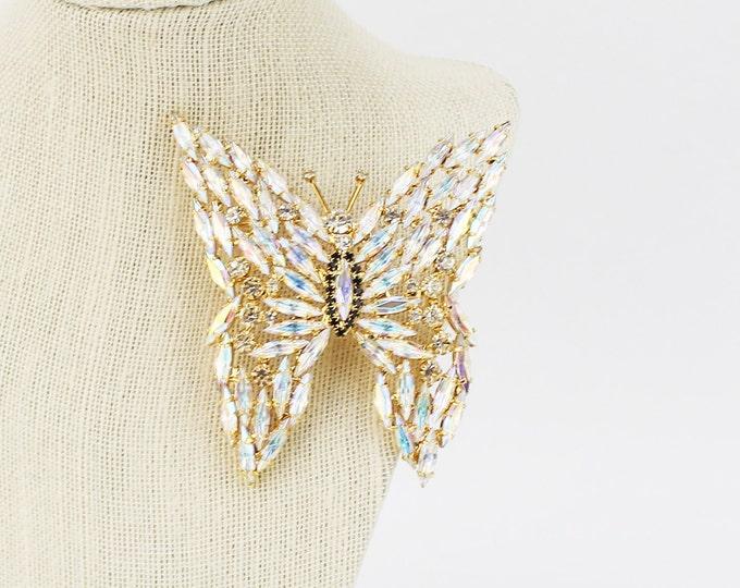 90s Rhinestone Butterfly Brooch - Vintage Butterfly Pin