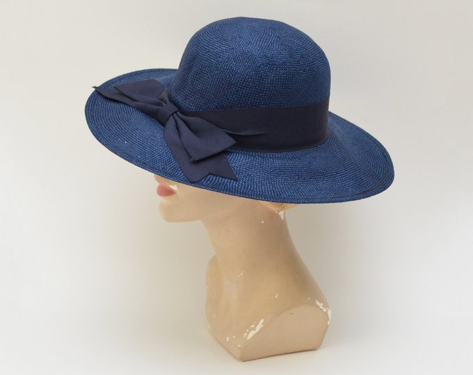Vintage 1980s Navy Wide Brim Hat