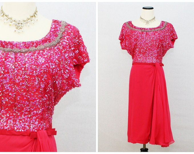 Pink Beaded Cocktail Dress - Vintage 1960s Fuchsia Chiffon Skirt Party Dress - Wilma of New York