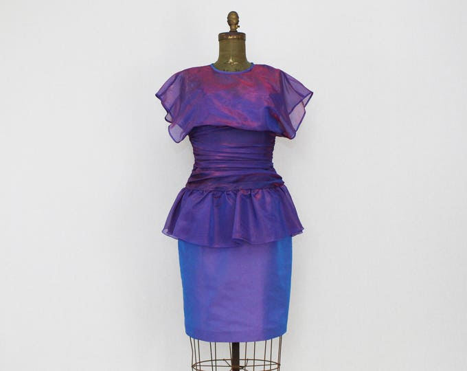 Vintage 1980s Purple Peplum Party Dress - Size Small