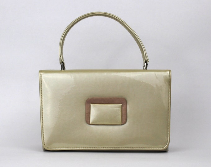 50s Cream Patent Leather Handbag - Vintage 1950s Beige Leatherette Box Purse
