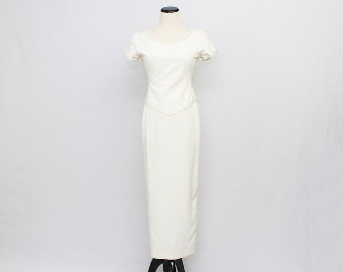 Off White Beaded Hourglass Wedding Dress - Ivory Pencil Dress - Vintage 1970s Short Sleeve Bridal Gown