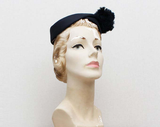 Vintage 1950s Navy Pom Pom Pill Box Hat by Martin Belasco