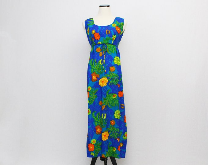 Vintage 1960s Floral Print Hawaiian Dress - Size Small