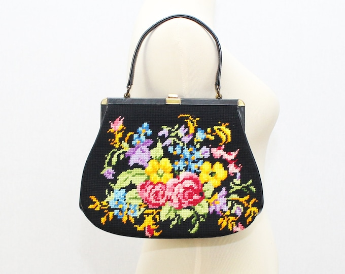 Black Floral Needlepoint Handbag - Vintage 1950s Tapestry Purse