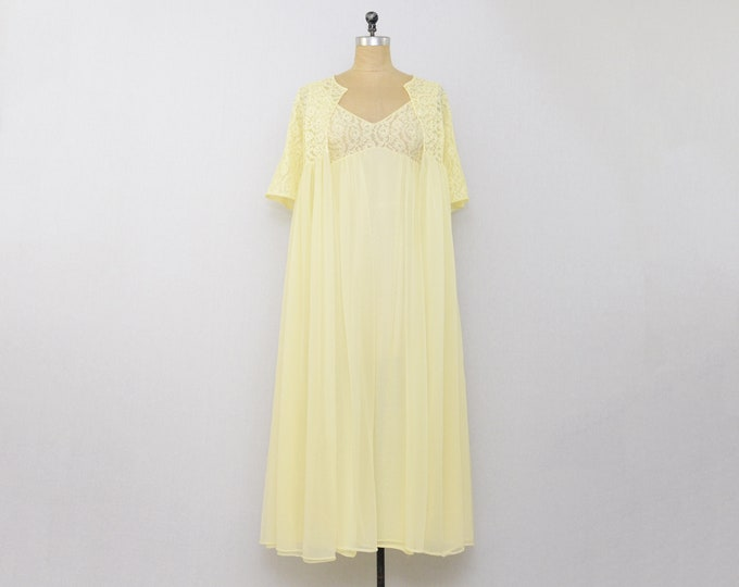 Vintage 1960s Butter Yellow Chiffon Pegnoir Set - Size Small