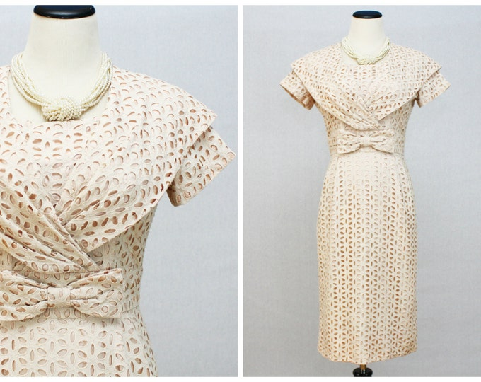 Pale Pink Eyelet Dress - 50s Spring Cocktail Dress - Vintage 1950s Hourglass Dress