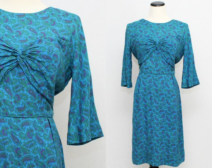 Vintage 50s Blue Paisley Cotton Day Dress - Size Medium