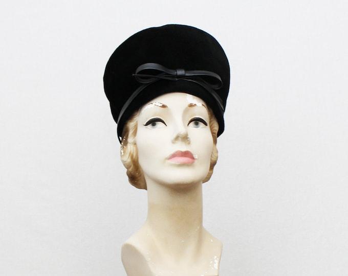 Mod Black Velour Hat - Vintage 1960s Black Felt Hat by Pauline Parker Originals