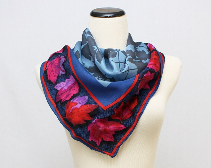 Vera Scarf - Blue Red and Fuchsia Leaf Print Silk Blend Scarf - Vintage 1960s Vera Neumann Scarf